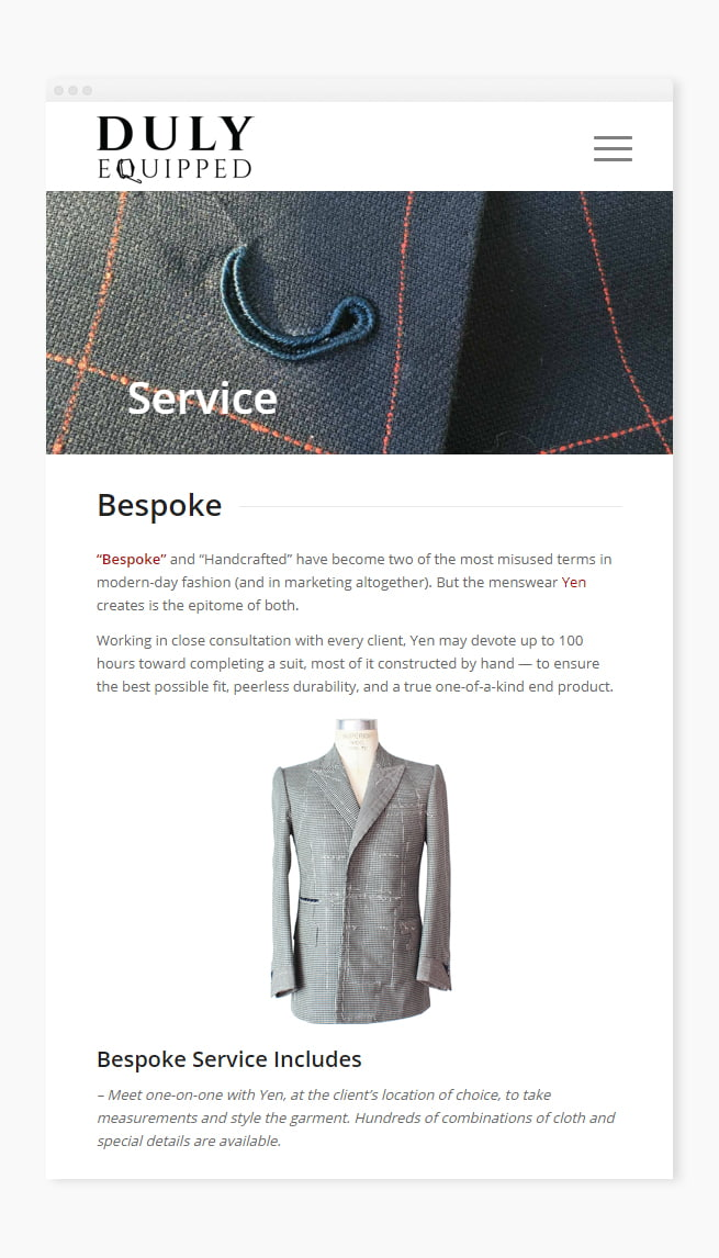 Custom service page