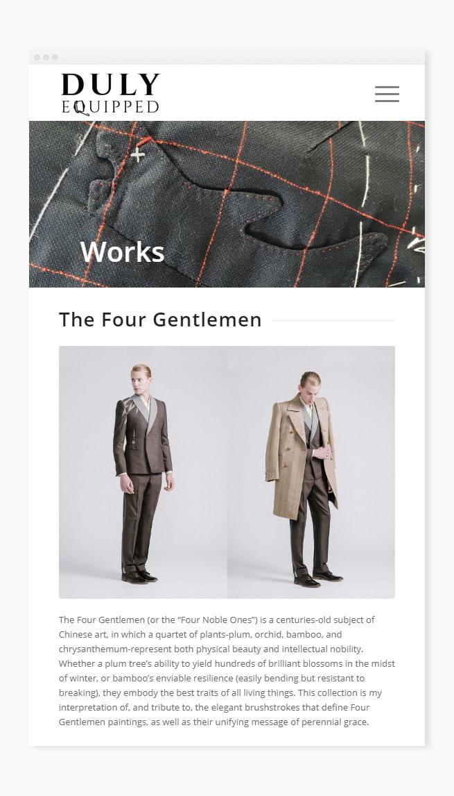 Custom works page