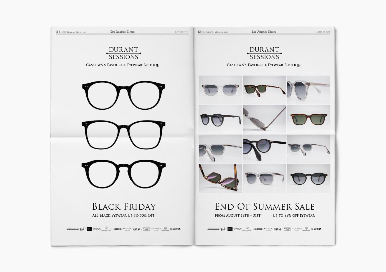 Custom eyewear print ad