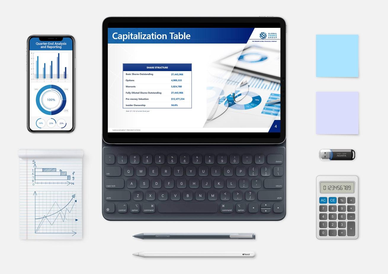Custom financial business presentation design mockup