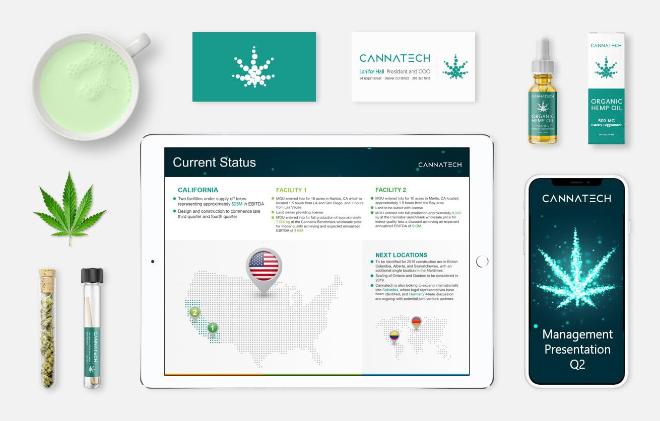 Custom cannabis powerpoint presentation design mockup