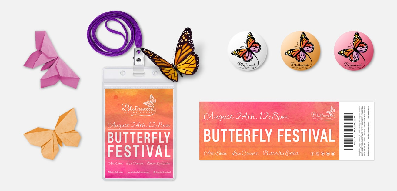 Custom festival logo design pass ticket origami pins